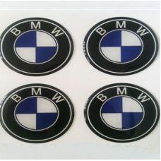 Аксессуары Наклейка на диск BMW d60 мм cиликон (Бело-синий логотип на черном фоне)+