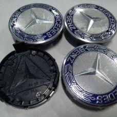 Аксессуары Колпачок в диск MERCEDES 75/70мм синий+белое основание с кольцом A1714000025