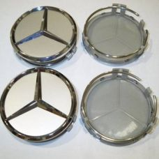 Аксессуары Колпак Mercedes (металл+пластмас) 75мм cеребрянный+хром