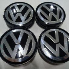 Аксессуары Колпачок в диск VW 56/52мм черный+основание черное выпуклый 6CD601171