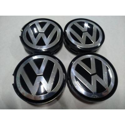 Аксессуары Колпачок в диск VW 55/52мм черный+основание черное плоский 6N0601171