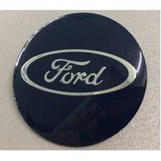 Аксессуары Наклейка на диск Ford D56 мм алюминий, выпуклый (Серебристый логотип на синем фоне)