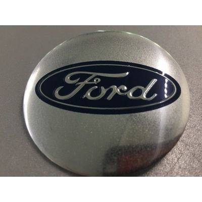 Аксессуары Наклейка на диск Ford D56 мм алюминий, выпуклый (Синий логотип на серебристом фоне)