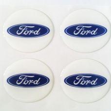 Аксессуары Наклейка на диск Ford D56 мм cиликон (Синий логотип на белом фоне)
