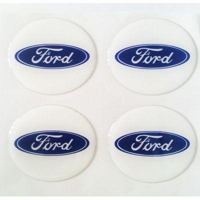Аксессуары Наклейка на диск Ford D60 мм cиликон (Синий логотип на белом фоне)+