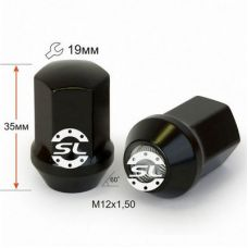 Аксессуары Гайки 12х1,5 L35мм конус ключ 19 черный хром
