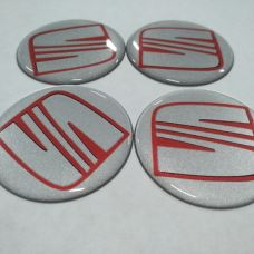 Аксессуары Наклейка на диск SEAT серебо+красный 50мм