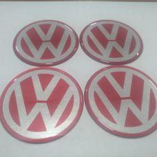 Аксессуары Наклейка на диск VW красная 65мм