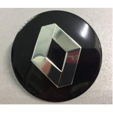 Аксессуары Наклейка на диск Renault D56 мм алюминий, выпуклый (Серебристый логотип на черном фоне)