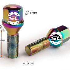 Аксессуары Болты 12x1,25 Конус L28 Радужный Хром 17 ключ