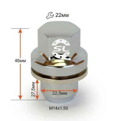 купити гайки для дисків Гайки 14х1,5 L46 Пресcшайба (Land Rover) 22 ключ Хром