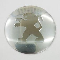 Аксессуары Наклейка на диск Peugeot D56 мм (Хромированный логотип на серебристом фоне)