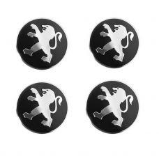 Аксессуары Наклейка на диск Peugeot D56 мм (Серебристый логотип на черном фоне фоне)