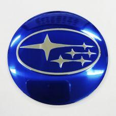 Аксессуары Наклейки Subaru D56 алюминий (Хромированный логотип на синем фоне)