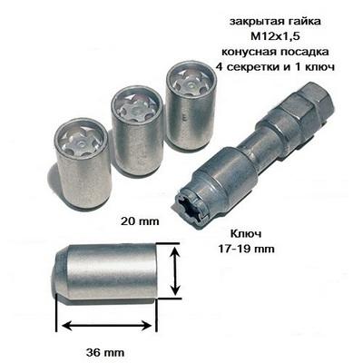 купити секретки для дисків Секретные гайки 12х1,5 L36мм Конус Внутренний ключ Farad Microlock