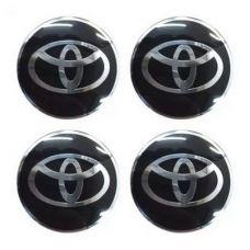 Аксессуары Наклейка на диск Toyota D56 мм алюминий, выпуклый (Серебристый логотип на черном фоне)